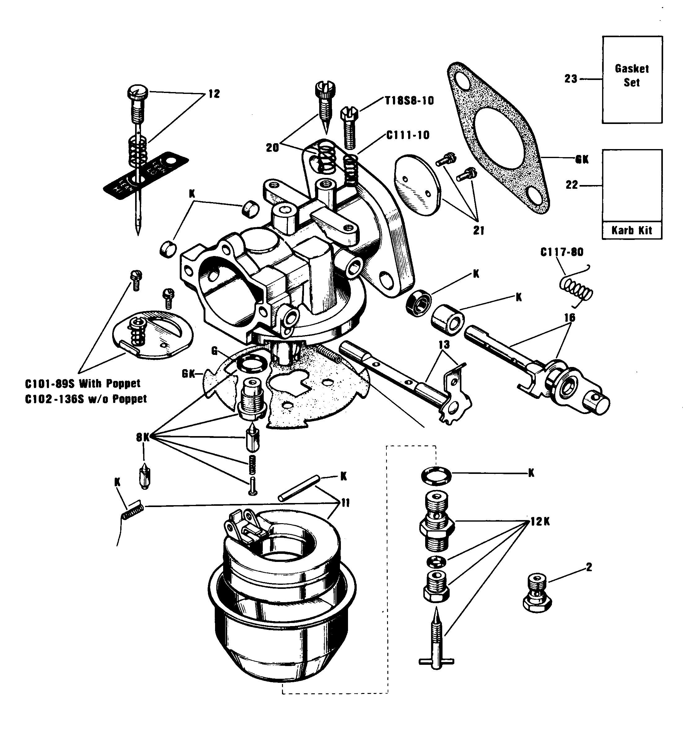 Zenith O-13385 Carburetor Kit, FLoat and Manual